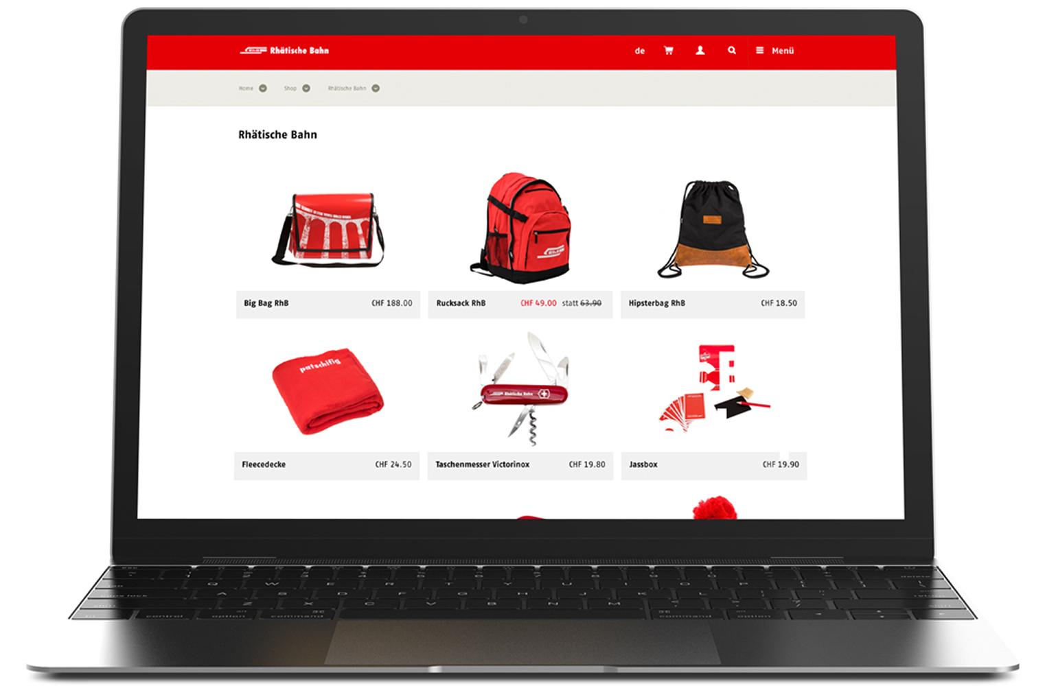 Website der Rhätischenbahn mit den Produkten von Pandinavia